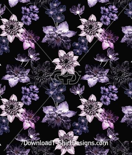 Purple Winter Dark Floral Seamless Pattern