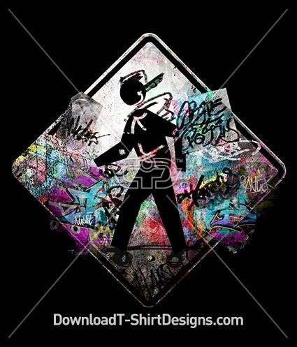 Graffiti Skater Skateboard Street Sign