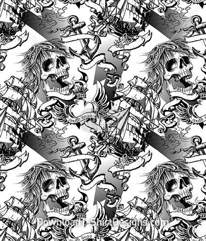 Pirate Ship Tattoo Skull Seamless Pattern