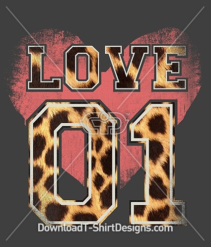 Animal Print Varsity Number Love Heart