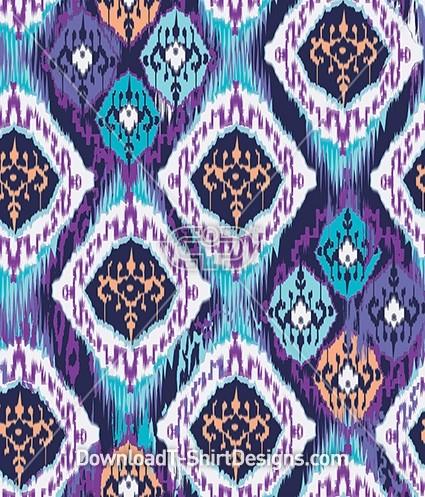 Ethnic Purple Modern Ikat Seamless Pattern