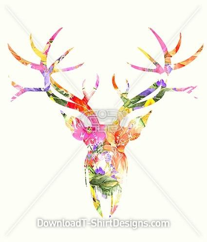 Floral Pattern Fill Stag Deer Head