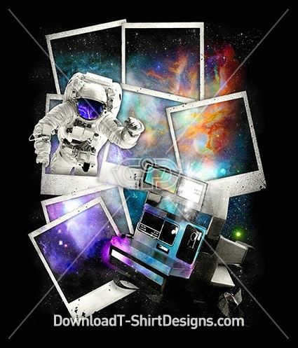Polaroid Space Galaxy Astronaut