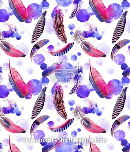 Falling Water Color Painted Feathers Seamless Pattern