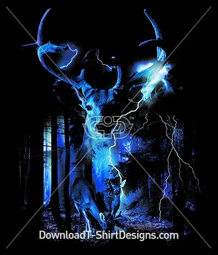 Deer Stag Dark Forest Lightening Storm
