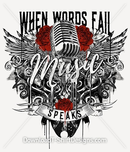 Music Quote Slogan Tattoo Microphone