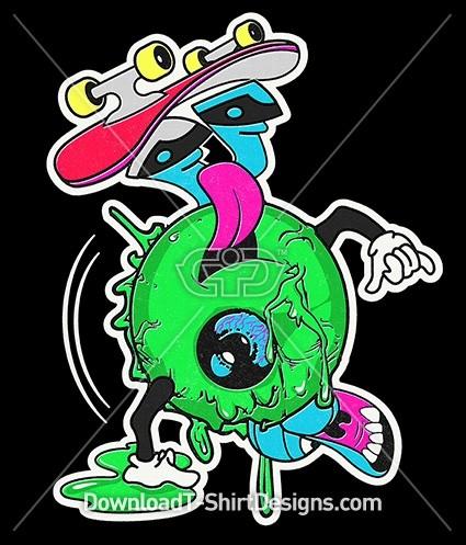 Skateboard Eyeball Zombie Character