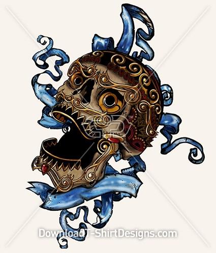 Decorative Jewel Skull Tattoo Banner Ribbon