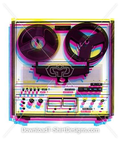 Retro CYMK Music Reel to Reel Tape Recorder