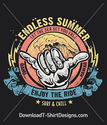 Endless Summer Surf Wave Shaka Hand Gesture