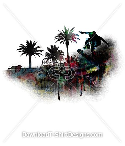 Skater Skate Board Palm Trees Graffiti Silhouette