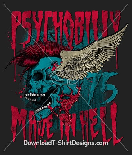 Psychobilly Grunge Made in Hell Skull Wings