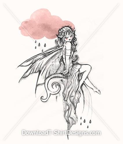 Beautiful Fairy Wings Cloud Rain Illustration