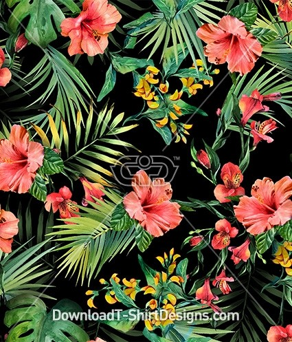 Tropical Exotic Leaves Hibiscus Flowers Seamless Pattern