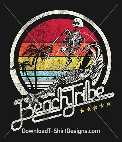 Retro Beach Tribe Surfing Skeleton Surfboard Wave