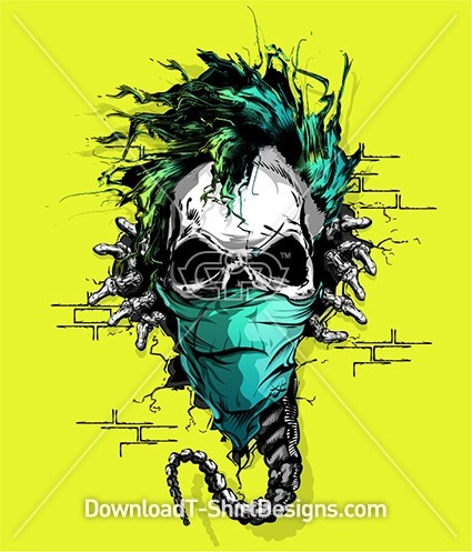 Scary Punk Mohawk Alien Skull Skeleton