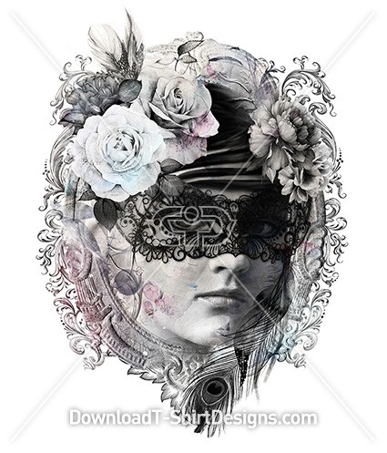 Beautiful Vintage Masquerade Female Portrait Frame Flowers