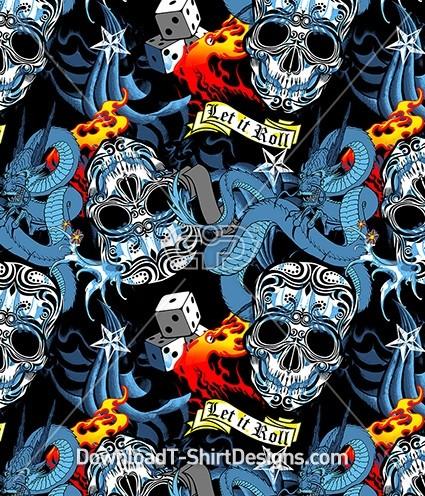 Tattoo Skeleton Dragon Dice Flames Seamless Pattern