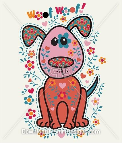 Cute Folk Art Flower Pattern Dog Puppy