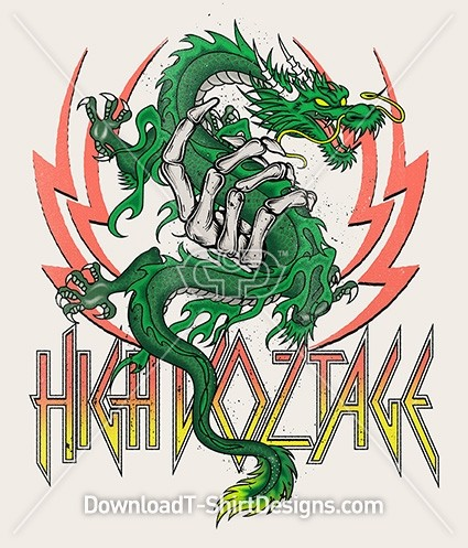 High Voltage Dragon Skeleton Hand Lightening Bolt