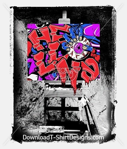 Hell No Grunge Attitude Graffiti Art Easel