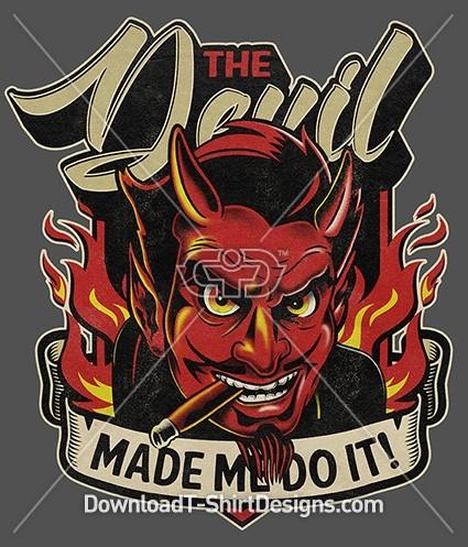 Retro Devil Character Flame Shield Slogan Quote