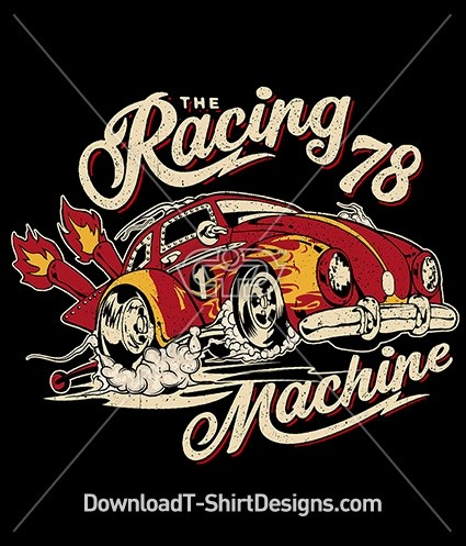 Retro Racing Machine Race Car Flames