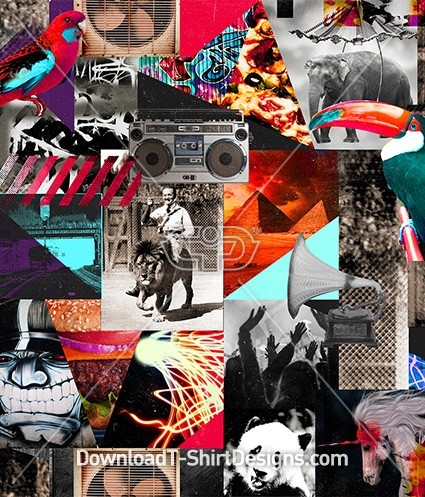 Crazy Photographic Collage Seamless Pattern
