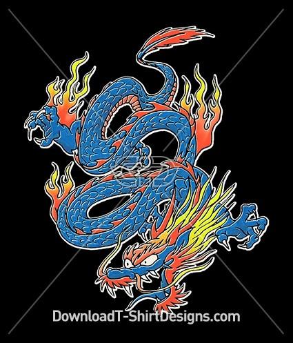 Bright Neon Flame Dragon