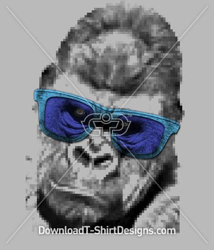 Pixel Gorilla Ape Animal Head Sunglasses
