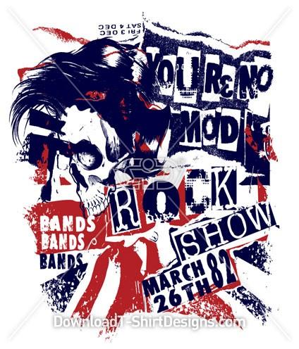 Skull Punk Rock Music Band Flag