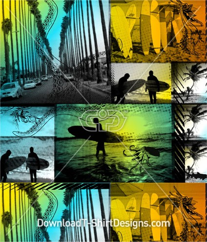 Tropical Beach Surfer Surfboard Seamless Pattern