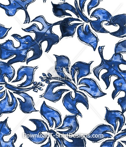 Blue Tropical Hibiscus Water Color Seamless Pattern