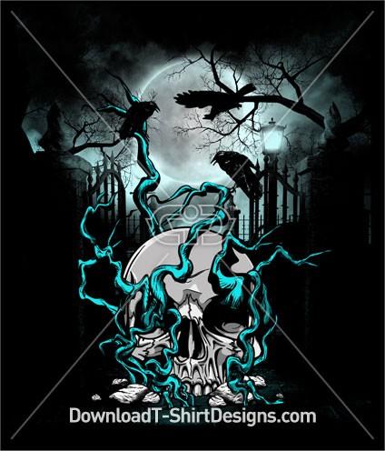 Skull Tree Moon Night Crows