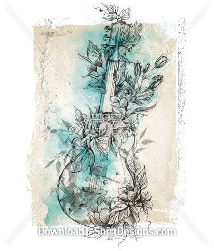 Floral Flower Music Guitar Sketch