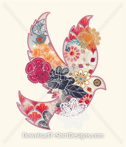 Floral Flower Pattern Dove Bird