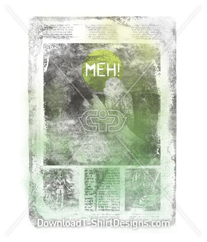 MEH! Old Owl Newspaper Poster