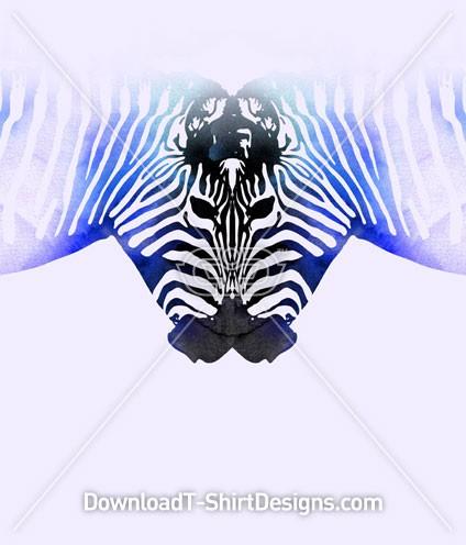 Reflected Gradient Zebra Animal Heads
