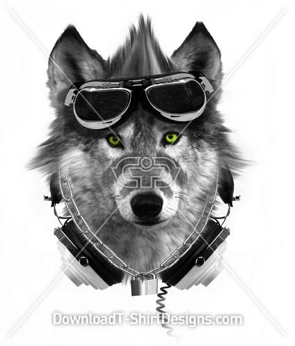 Wolf Animal Mohawk Goggles Music Headphones