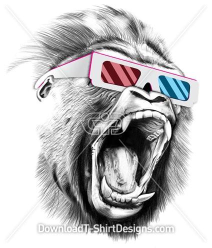 Angry Gorilla Animal Head 3D Glasses
