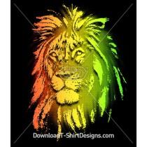 Gradient Lion Animal Head