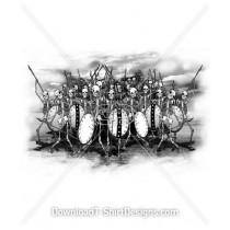 Skeleton Army Shields Spears
