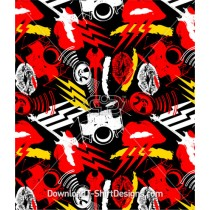 Music Stereo Lips Drums Rock Seamless Pattern