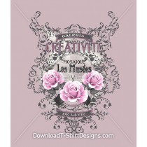 Vintage Decorative Rose Floral Emblem