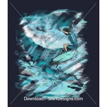 Surfboarding Wave Watercolor Paint Smudge