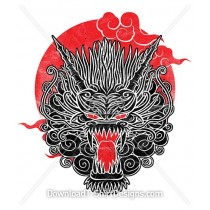 Rising Sun Japanese Oriental Dragon