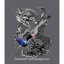 Rock Dragon Guitar Tattoo