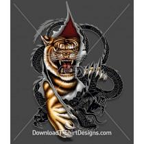 Oriental Asian Tiger Dragon Ripping Claws Tattoo