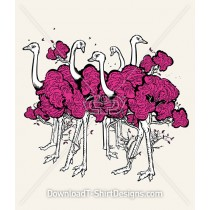 Ostrich Bird Forest Tree Characters