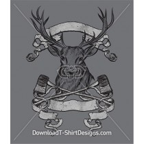Forest Axe Deer Stag Antler Banners
